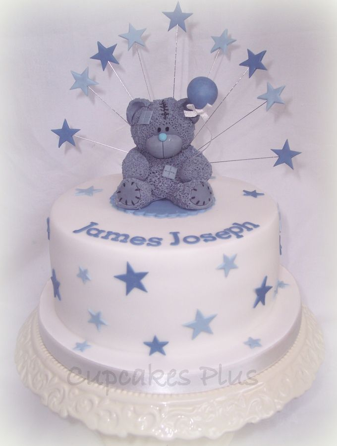 Tatty teddies are proving very popular at the moment!.  This cake was the top cake for a christening cupcake tower.