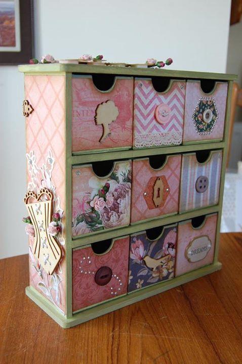 Pin by sharon caldwell on current projects decoupage box - Cajoneras decoradas ...