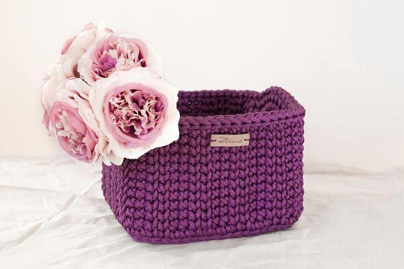 Square crochet basket/Purple cube basket with handles/Home