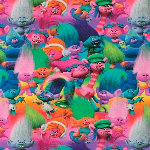 Stretch jersey with DreamWorks Trolls colourful print