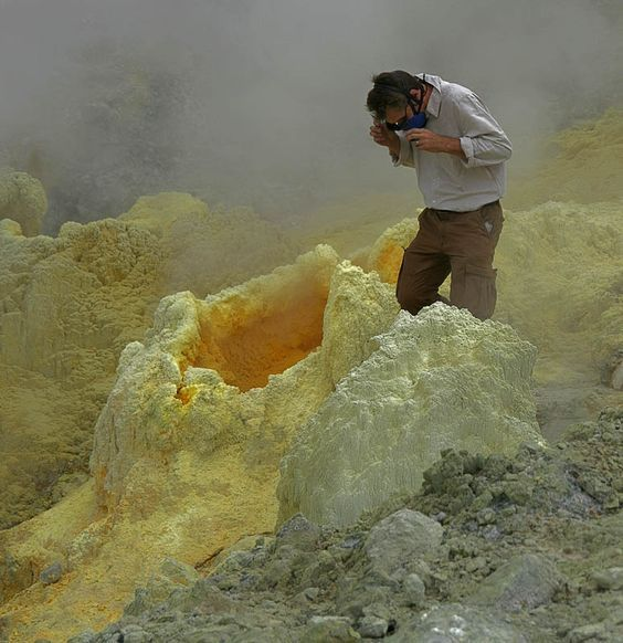 Papandayan Volcano - Indonesia -- a cone filled with hot, liquid sulfur: