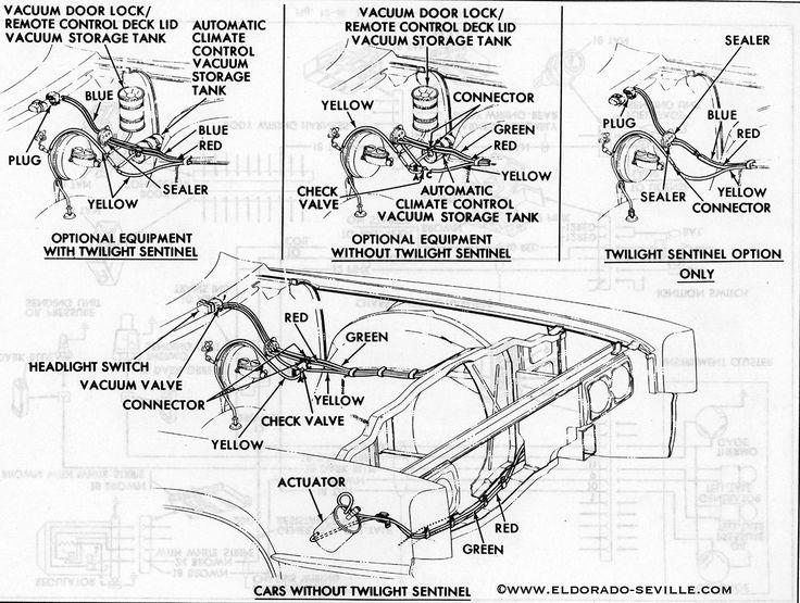1967 Headlight Vacuum Diagram Cadillac | cars | Line diagram, Cadillac, Diagram