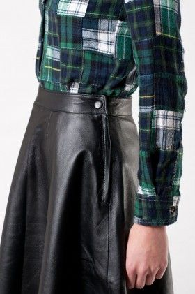 Fully lined skater style skirt made from super soft sheep leather. Concealed side and snap fastening.   kara is a size 8, 175cm tall and wears a size s.   * 100% leather * fits true to size