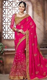 Pink Color Embroidered Silk and Net Sari #indiansarifabric #sariforsale Look pretty wearing this pink color embroidered silk and net sari. The lace and resham work looks chic and aspiration for any get together. Upon request we can make round front/back neck and short 6 inches sleeves regular saree blouse also.  USD $ 125 (Around £ 86 & Euro 95)