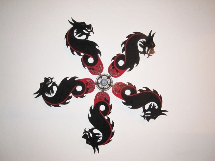 BLACK AND RED DRAGON SHAPED REPLACEMENT CEILING FAN BLADES