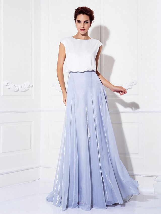 TS Couture Formal Evening Dress - Multi-color Plus Sizes / Petite A-line Jewel Sweep/Brush Train Tulle / Charmeuse - USD $74.99
