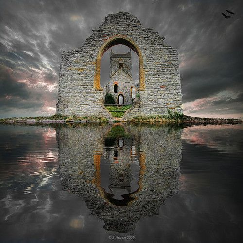 Fantasy Mump: This is a montage of St Michaels Church on Burrow Mump. Somerset. By scott howse