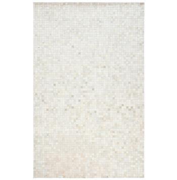 kochi global bazaar tile ivory white cowhide rug 2x3
