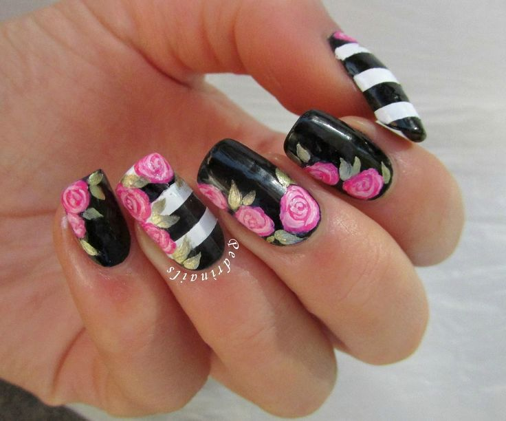Floral nail art on black & white striped base inspired to Valentine's nails created by Paulina's Passions - photo © Pedrìnails