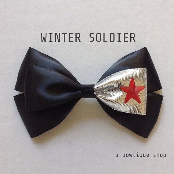 winter soldier hair bow by abowtiqueshop on Etsy, $6.50  disney bow, disney bows, captain america bow, bucky bow