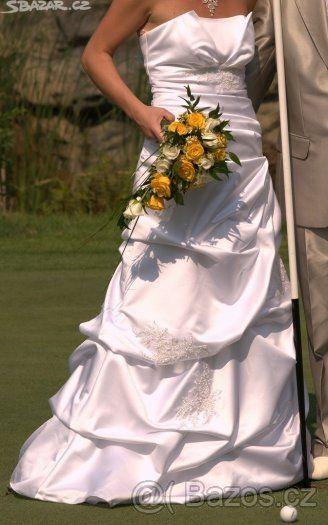 pohodlné bílé svatební šaty, velikost 38 - 1