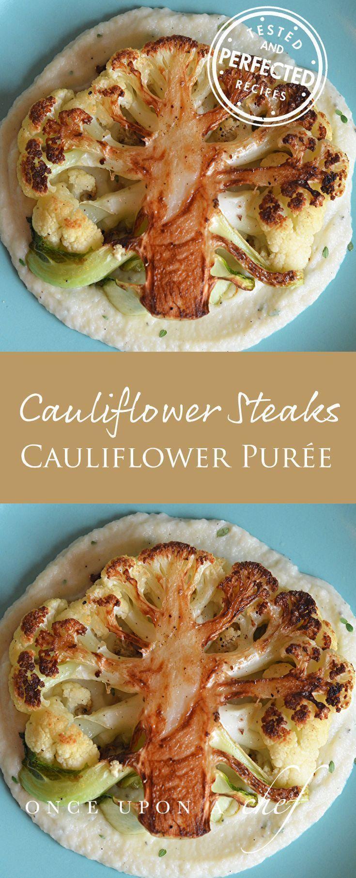 Cauliflower Steaks with Cauliflower Puree