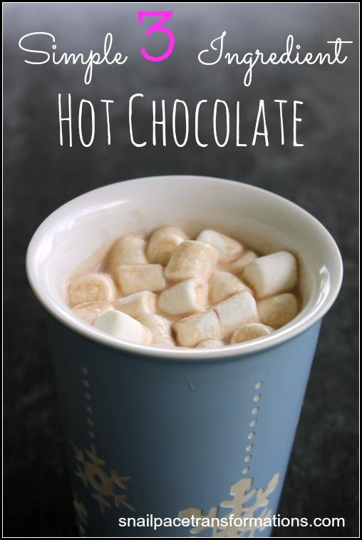 A simple hot chocolate recipe for one cup of hot chocolate using just milk, sugar and cocoa powder.