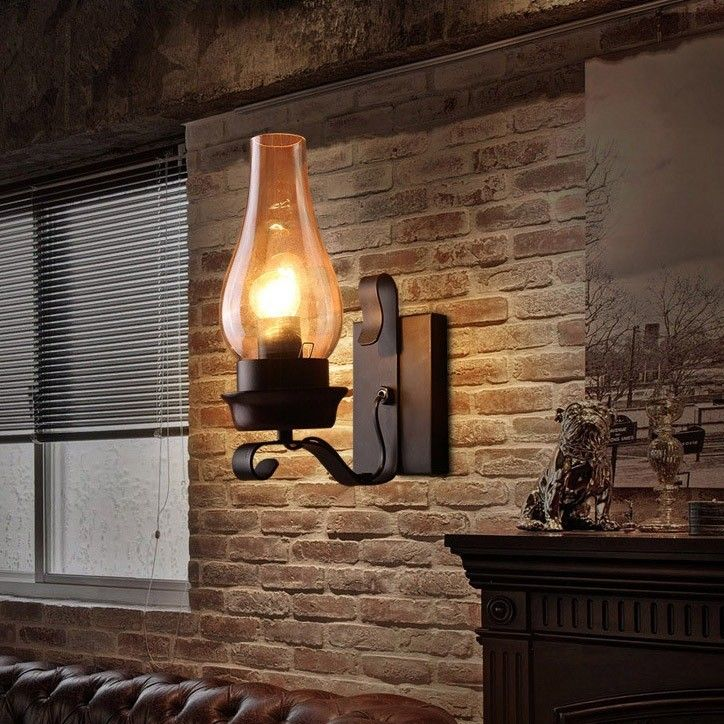 Vintage Rustic Single light Metal Wall Sconce with Glass Chimney Shade - Indoor Sconces - Wall Lights - Lighting