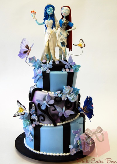 """The corpse bride meets Sally Halloween Wedding Cake! This is so cute. Would be cute as a second cake or """"grooms cake"""" lol!!!!"""