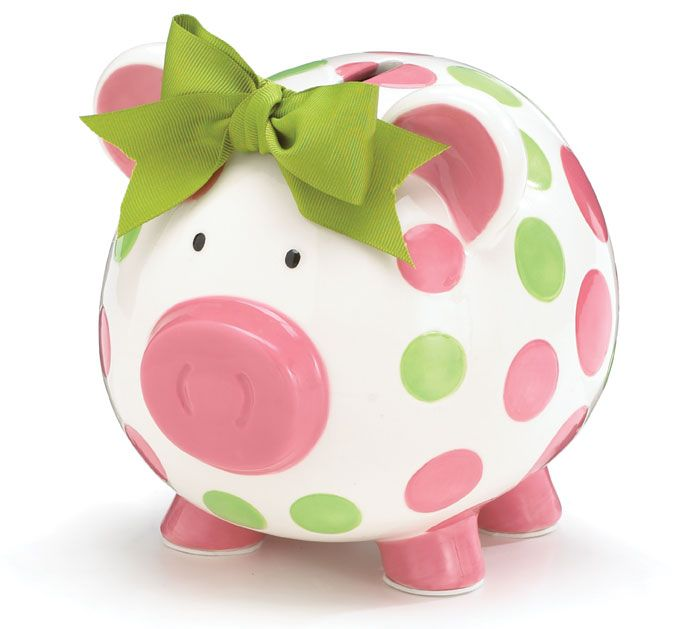 "Hand-painted ceramic piggy bank. Individually gift boxed. Dry erase pen included for personalizing.  7""H x 6""W x 7.75""Dset of 2."