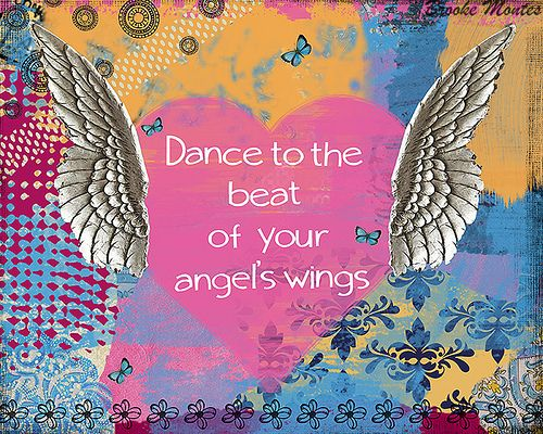 Inspiring quote collage Art - Heart and Angel Wings by Brooke Montes