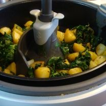 T-fal ActiFry  A unique kitchen appliance engineered with innovative heat-pulse technology!  Potato and Spinach Stir Fry
