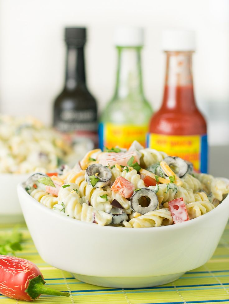 This spicy El Yucateco Habanero Ranch Pasta Salad is the perfect alternative to grilling at your next game day party! #KingofFlavor