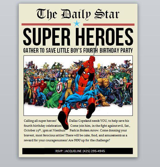 Stampabile digitale Super eroe quotidiano invito per una festa di compleanno a tema divertente e creativo super eroe!  Questo elenco è per il file