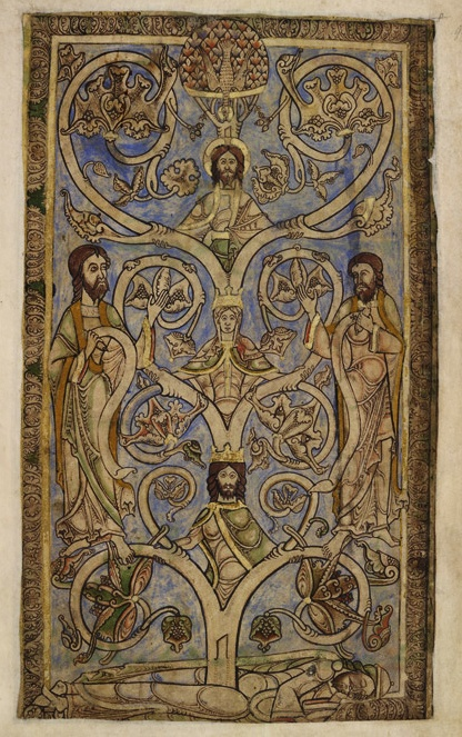The Jesse Tree from the Winchester Psalter, a 12th century book of psalms from England, made for the brother of King Stephen.