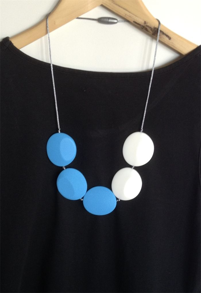 Blue and White Disc Necklace