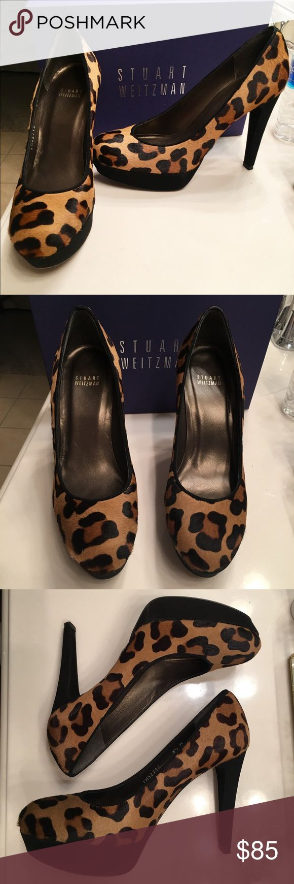Stuart Weitzman Leopard Hair Pump Only worn once! Platform, leopard hair texture, few scuff marks on the bottom and a small nick on the side. Stuart Weitzman Shoes Platforms