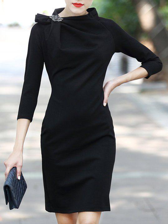 Bainha Recolhida Preto 3 4 Manga Mini Vestido Elegante   clothes   Dresses,  Mini dress with sleeves, Sleeves de5381c04f
