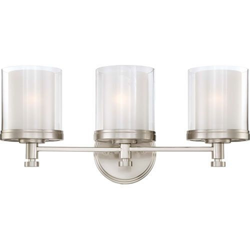 Decker Brushed Nickel Three Light Vanity Fixture W/Clear & Frosted Glass Nuvo Lighting 3 L