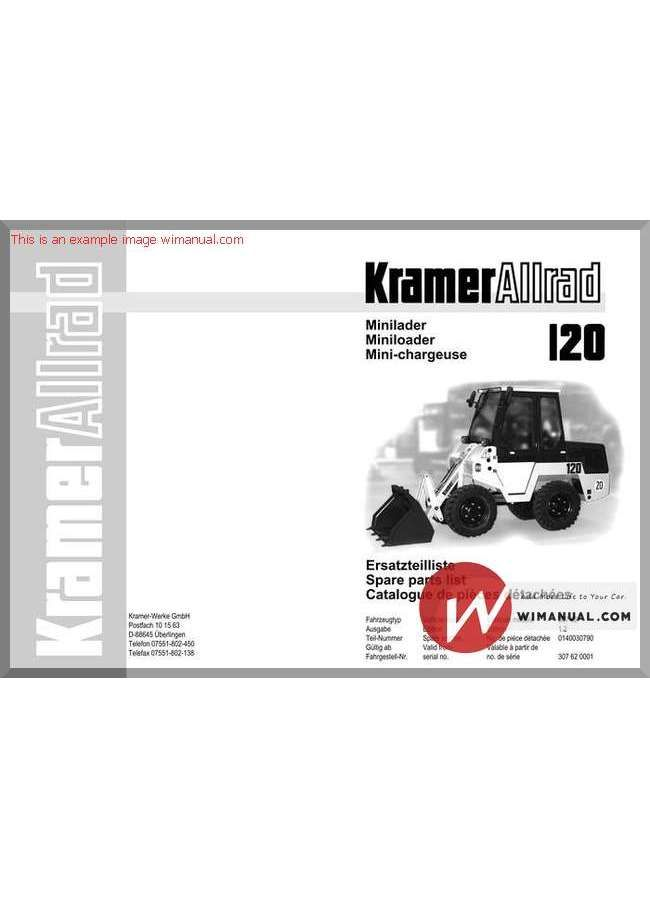 Kramer 120 Serie 1 Spare Parts Spare parts, Hydraulic