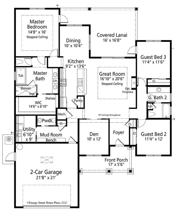 Craftsman Style House Plan 3 Beds 2 5 Baths 2138 Sq Ft Plan 938 101 Craftsman Floor Plans Craftsman Style House Plans Floor Plans