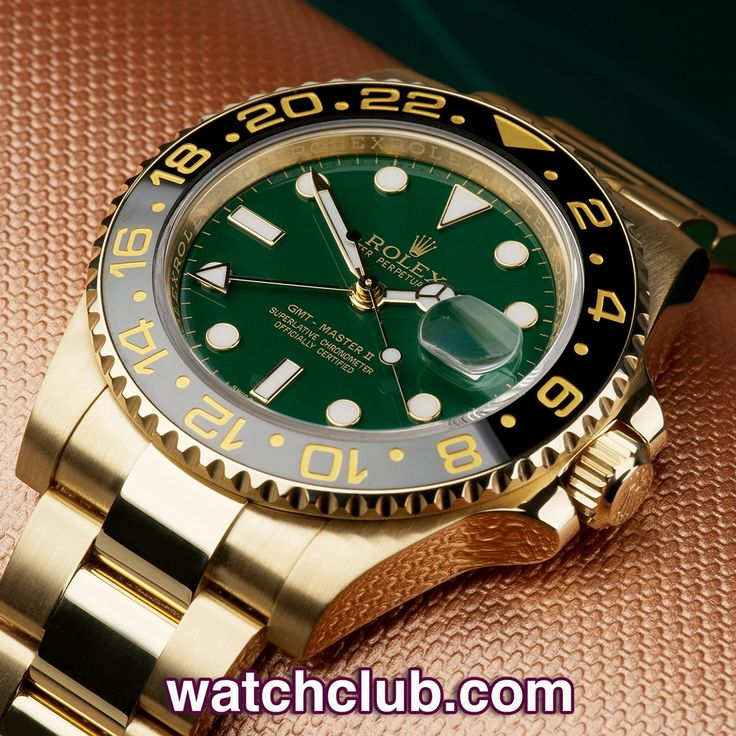 Rolex GMT-Master II Yellow Gold - 'Rolex Warranty' REF: 116718LN | Year Aug 2014 - This ref.116718 GMT-Master II sports the rich green Maxi-dial and black ceramic bezel. Powered by the upgraded cal.3186 automatic movement and complete with its original Rolex box, UK stamped papers and instructions. Under Rolex international warranty to 2016 - for sale at Watch Club, 28 Old Bond Street, Mayfair, London