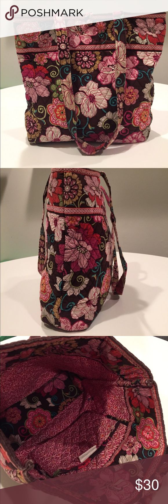 "Vera Bradley Tote Bag Authentic Vera Bradley Tote Bag. ""Mod Floral"" pattern. Perfect tote for school books! Includes one inside pocket. Dimensions are 12"" w x 13 ½"" h x 4"" d and 11 ½"" strap drop. Vera Bradley Bags Totes"