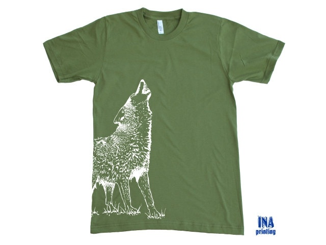 WOLF American Apparel - Mens T-shirt S M L XL (9 Colors Options). $21.00, via Etsy.