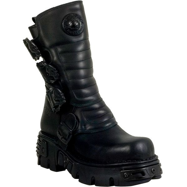 New Rock M.391X-S2 Unisex  Boot ($270) ❤ liked on Polyvore featuring men's fashion, men's shoes, men's boots, black, mens new rock boots, mens platform boots, mens rock climbing shoes, mens buckle boots and new rock mens boots