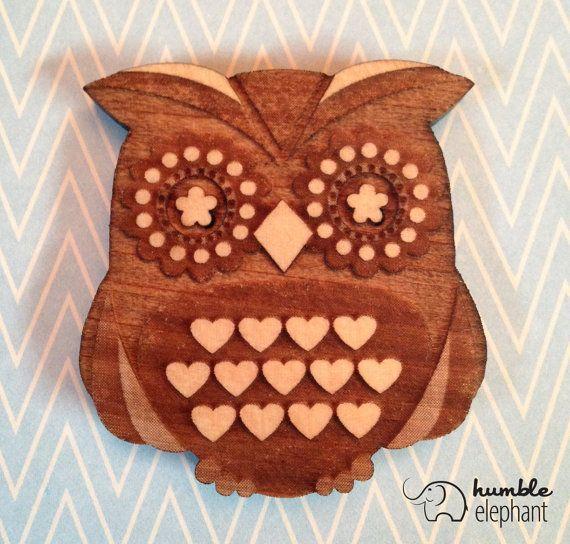 Laser Cut Owl Magnet - Bass Wood