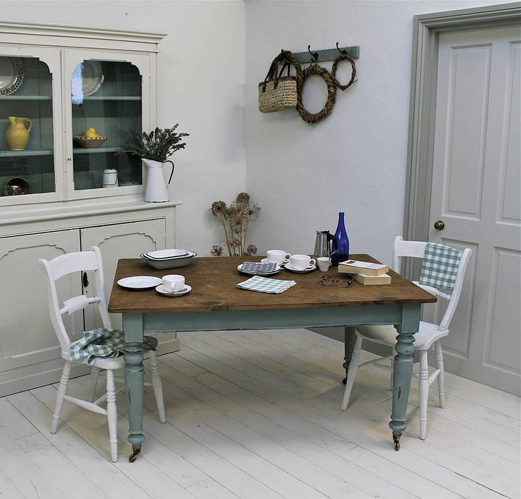 133 best painted dining set images on pinterest for Is chalk paint durable for kitchen table