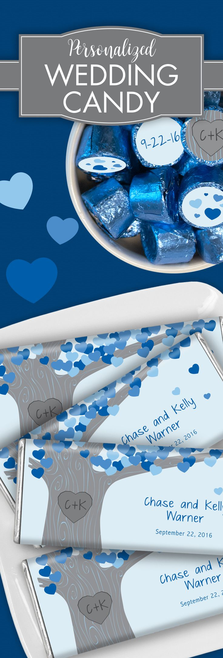 """Family and friends will know how deeply rooted your love is with this """"Tree of Love"""" themed candy bar wrapper in cobalt blue. How amazing would this be as a table place setting element, or simply a sweet way to thank your guests for sharing in your beautiful day."""