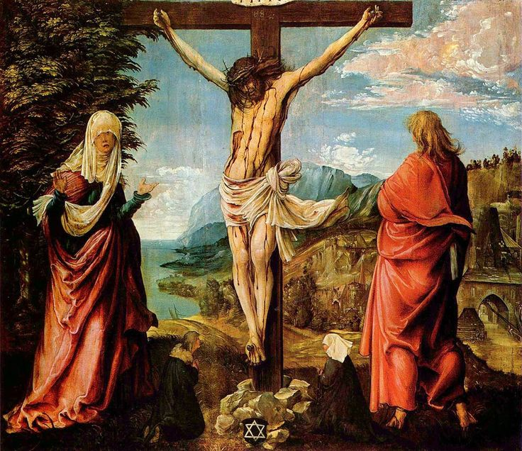 Albrecht Altdorfer. Christ on the Cross between Mary and St John, 1510, Kassel, Old Masters Art Gallery. Buy this painting as premium quality canvas art print from Modarty Art Gallery. #art, #canvas, #design, #painting, #print, #poster, #decoration