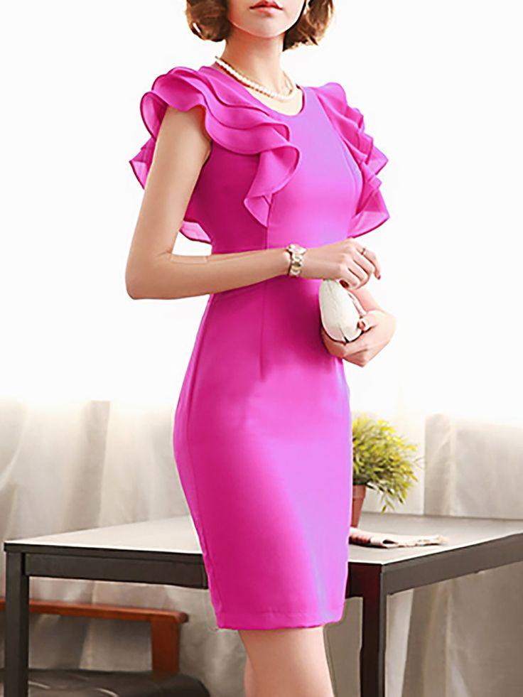 Rose Sheath Date Work Frill Sleeve Ruffled Solid Midi Dress