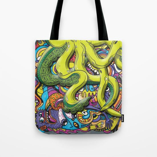 Our quality crafted Tote Bags are hand sewn in America using durable, yet lightweight, poly poplin fabric. #fashion #octopus #doodle #art #monster #apparel #black #friday #christmas #new #year #shop #shopping #usa #phonecase #iphone #samsung