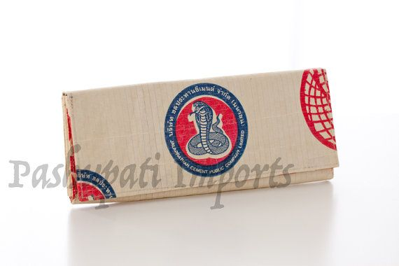 This is a lovely eye catching ladies wallet with a red, blue and white cobra design. Hand made from recycled cement bags, it is high quality,