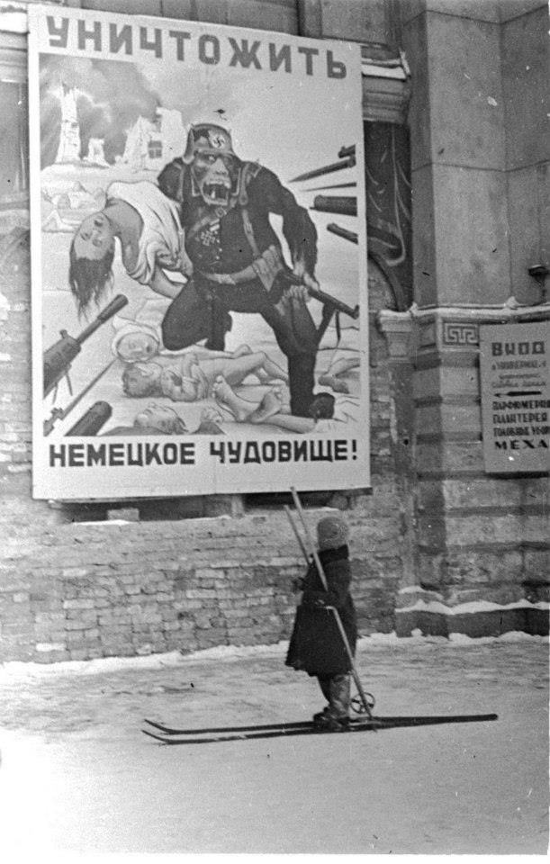 Russian poster, Leningrad, December 1941: Destroy the German beast!