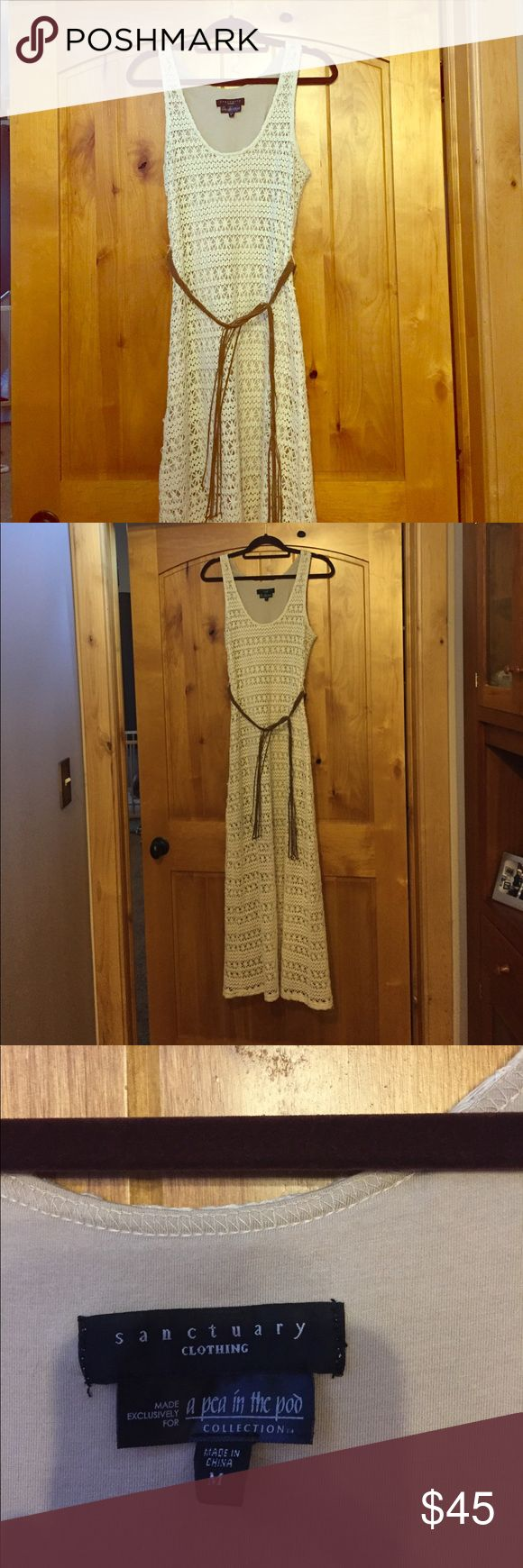 Sanctuary maxi dress for a pea in the pod Cream maxi dress, crocheted look. Beige lining goes down to just above the knee, and the dress is a maxi length. Brown braided belt sits above stomach. Size medium:). I bought as a maternity dress but also wore it once not pregnant and looked fine. Please feel free to make an offer:) Sanctuary Dresses Maxi