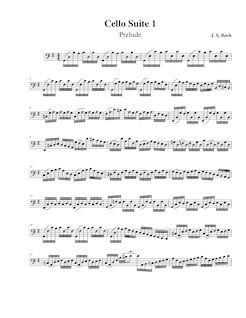 Partition , Prelude, violoncelle  No.1, G major, Bach, Johann Sebastian                                                                                                                                                                                 Plus