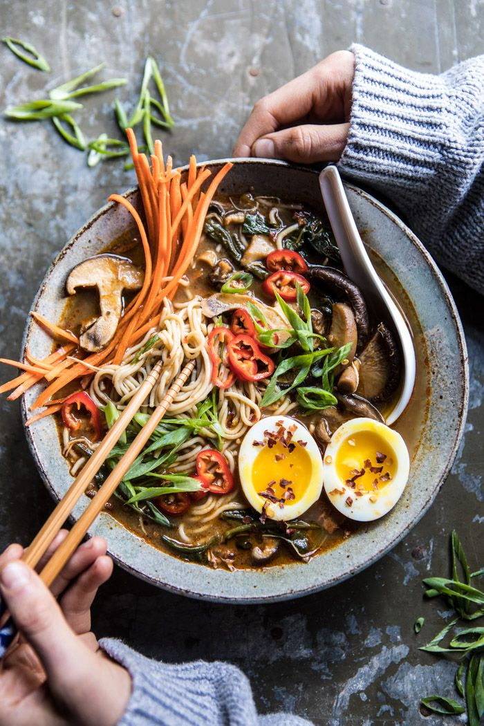 Better For You Instant Pot Chicken and Spinach Ramen: add everything to the Instant Pot, set it to pressure cook for 20 mins and done! @halfbakedharvest.com