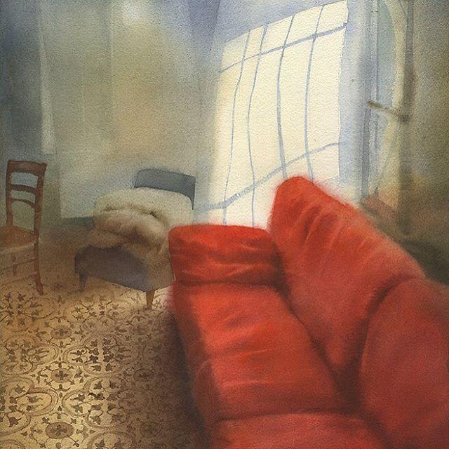 "1,654 mentions J'aime, 42 commentaires - Sergei Kurbatov (@sergei.kurbatov) sur Instagram: """"Красный диван"" бумага-акварель, 2014 ""Red sofa"" watercolor on paper, 2014 #watercolor #interior"""