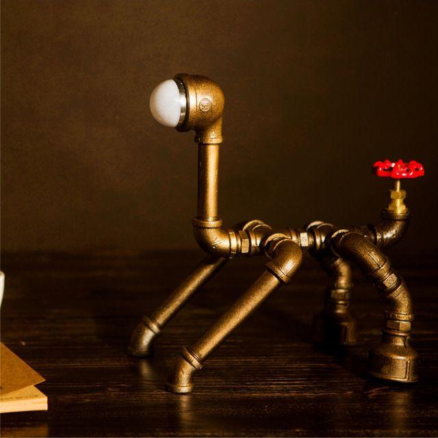 De Metal Retro luz lámpara de escritorio Novely estilo perro de hierro antiguo tubería de agua Industrial lámpara de escritorio tubo de la lámpara Led FJ-DT1S-022A0
