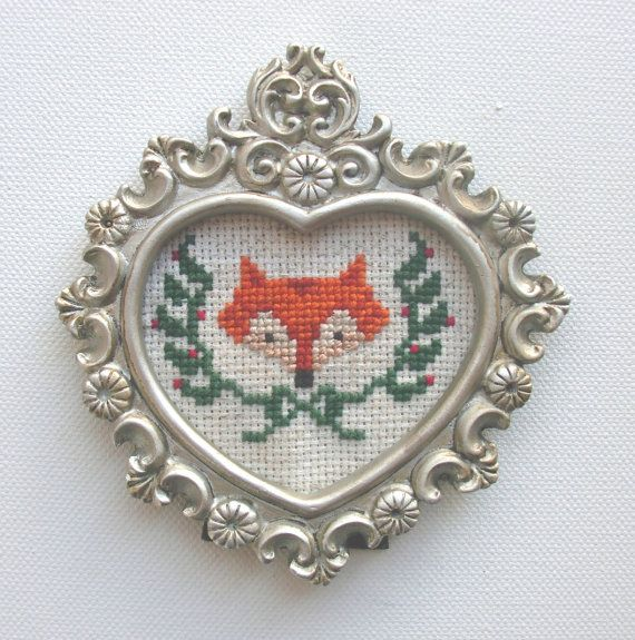 fox with ivy detail and bow completed cross stitch small silver ornate filigree heart shaped