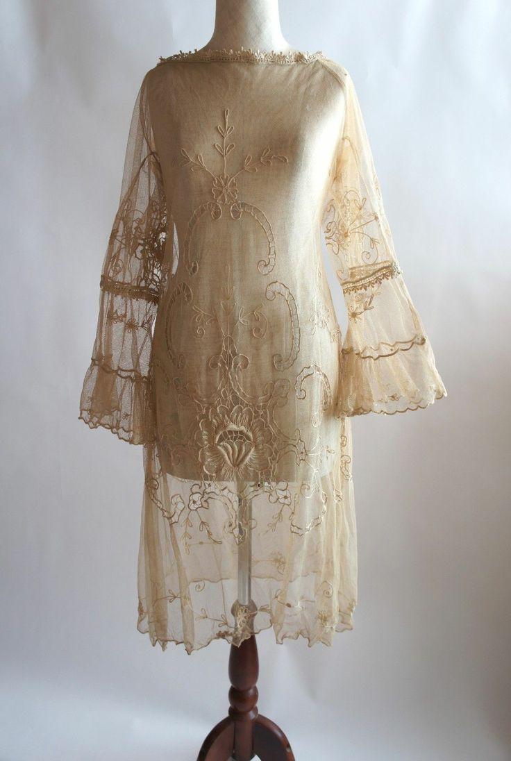 exquisite work...  c. 1920's Antique Net Brussels Lace Wedding Dress...